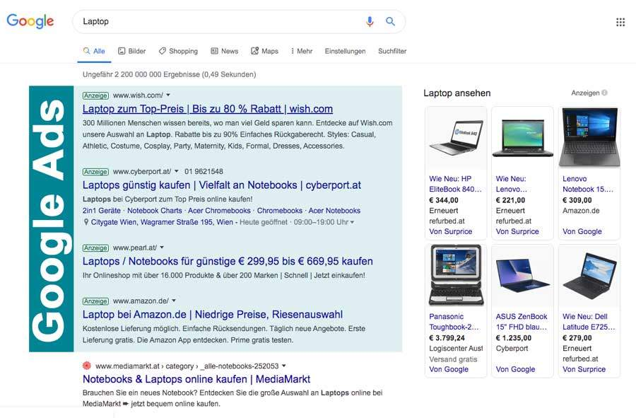 Google Ads in den Serp